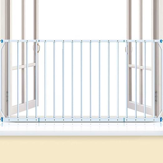 Barrera de Seguridad Barrera de Seguridad Niños Para Escaleras, Protectores Extra Anchos Para Niños Barras de Seguridad Para Ventanas de Niños Pequeños, Montaje de Presión de Metal Blanco Puerta de se: Amazon.es: