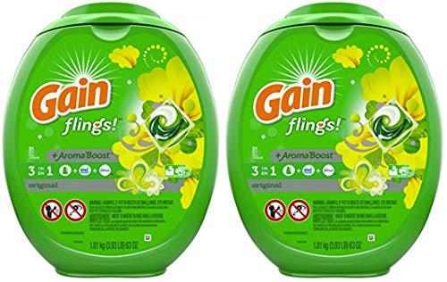 Gain Flings Laundry Detergent Pacs, Original Scent, 81 Count (.2 Pack (162 Pacs))