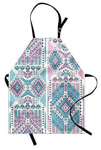 Ambesonne Tribal Apron, Geometric Bohemian Design Vintage Pastel Colors Art, Unisex Kitchen Bib Apron with Adjustable Neck for Cooking Baking Gardening, Pale Pink and Teal