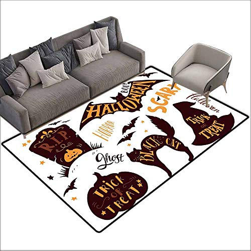 Floor Bath Rug Vintage Halloween Halloween Symbols Trick or Treat Bat Tombstone Ghost Candy Scary Quick and Easy to Clean W5' x L7'10 Dark Brown Orange]()