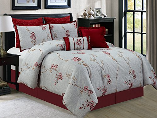 (HGS 7-Pc Vine Floral Blossom Embroidery Comforter Set Burgundy Red Antique Silver Pewter)