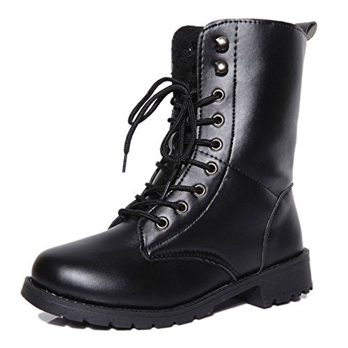 ALBBG Combat Boots Military Boots Woman's Punk Boots Martin Boots Lace Up Mid-Calf Ankle Boots Women's (US7.5, Black) (Women Boots Military Ankle)