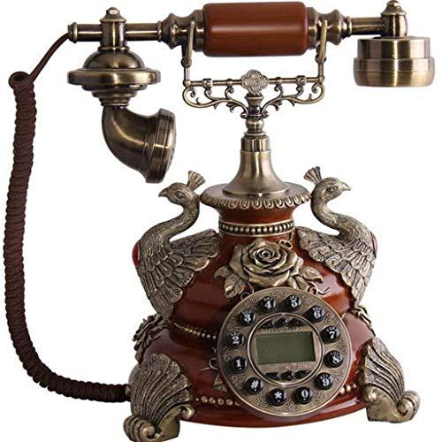 (YuanElectronic Retro Fashion European Antique Telephone Machine Home Fashion Landline Hands-Free Home Fashion Creative Cable Glaze Color Rust-Hands-Free Version (Color :)