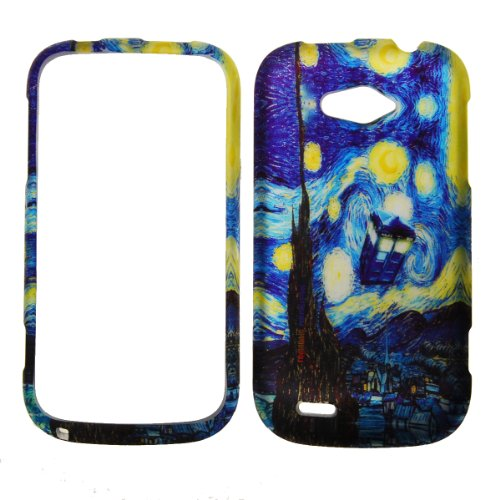 IMAGITOUCH(TM) For ZTE Savvy Z750c (StraightTalk) Rubberized Design Hard Case Shell Cover Phone Protector Faceplate - Doctor Who Tardis Police Box Van Gogh Starry Night ()
