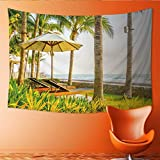 Printsonne Horizontal Version Tapestry Beautiful Luxury Umbrella and Chair Around Swimming Pool in Hotel Pool Resort Vintage Light Filter Throw, Bed, Tapestry, or Yoga Blanket 84W x 70L Inch