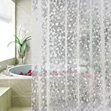 Clear Shower Curtain with Liner, Carttiya Waterproof No Chemical Odor Bathroom Curtain with 12 Hooks, Antibacterial Bath Curtain for Dorms, Hotels 72 x 72-Inch Semitransparent