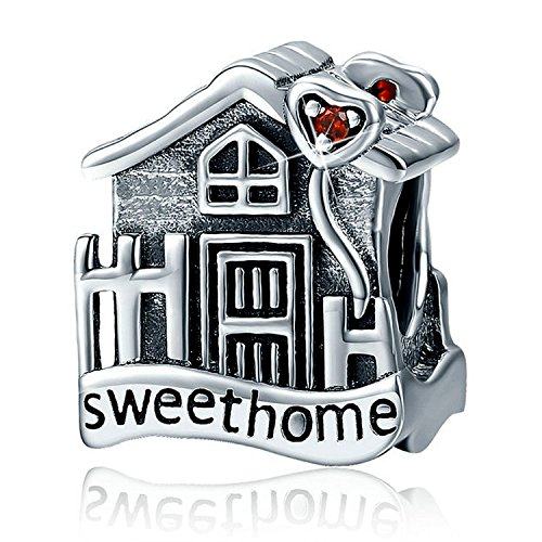Sterling Silver Sweet Home Charms Love Family House Vintage Charms Red CZ Charm Fit Snake Chain Bracelets (Charm House Silver Sterling)