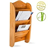 Home Intuition Wall Mount Bamboo Mail Organizer Letter Holder Rack, 3 Slot