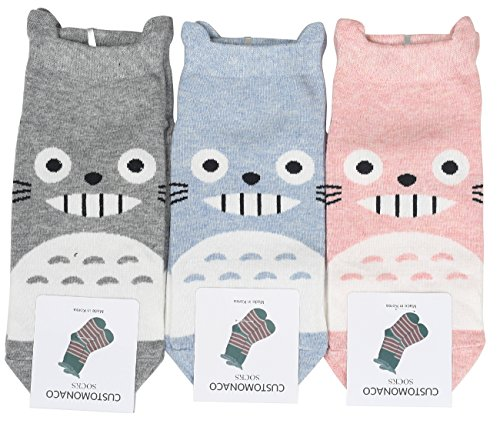 Women-Totoro-Cartoon-No-Show-Socks-3-Pairs-Pink-Gray-Blue-One-Size