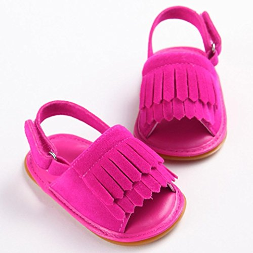 Tefamore Sandalias Zapatos Bebé Niño Cuna de Recién Nacido Flor Suave Suela Antideslizante Zapatillas Primavera y Verano Rosas cálidas