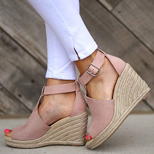 CCOOfhhc Women's Wedge Sandals Casual Sandals Shoes Summer Adjustable Ankle Buckle Open Toe Wedges Heels Pink by CCOOfhhc (Image #3)