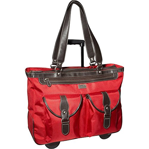 Clark and Mayfield Marquam 18.4'' Rolling Laptop Tote, Computer Handbag in Red by Clark & Mayfield