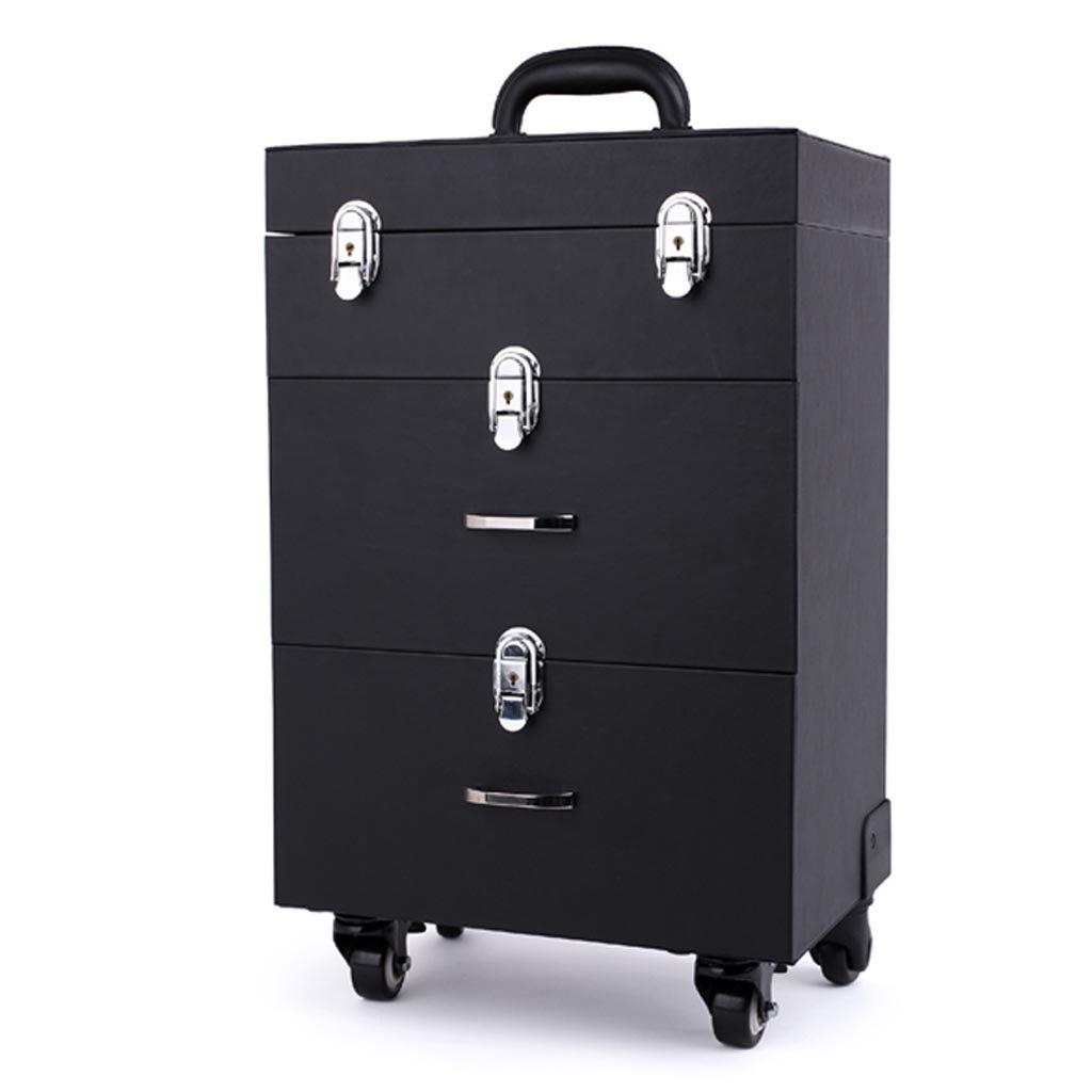 トロリーツールボックス収納ボックスプロフェッショナルトロリーケース化粧ケース大容量35×23×48.5cm 2色 (色 : 黒) B07KT375QL 黒