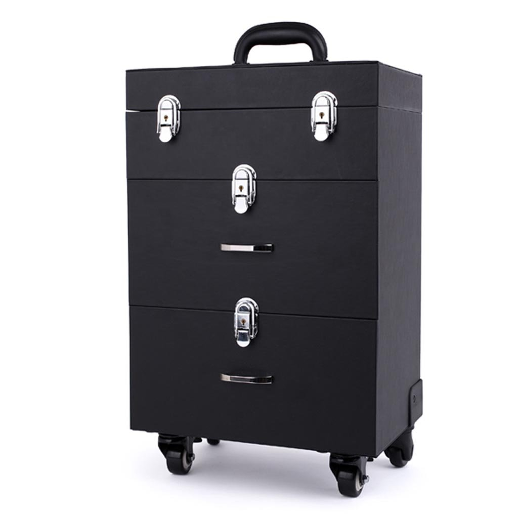 TY BEI Trolley Toolbox Storage Box Professional Trolley Case Cosmetic Case Large Capacity 35×23×48.5cm 2 Color (Color : Black)