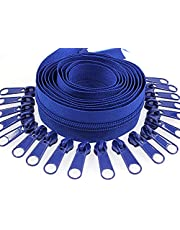 #5 Nylon Coil Zippers by The Yard Beige Blue Black White Brown Gray Sewing Zipper Bulk 10 Yards with 25 PCS Pulls Sliders for DIY Tailor Sewing Crafts Bags Pillows Cushions,SHUNLI