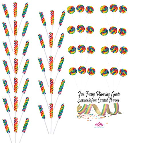 Curated Nirvana Rainbow Sucker Party Bundle | 62 Total Mini Swirl/Twist Lollipops | Great for Birthday Parties, Favors & Giveaways, Themed Occasion