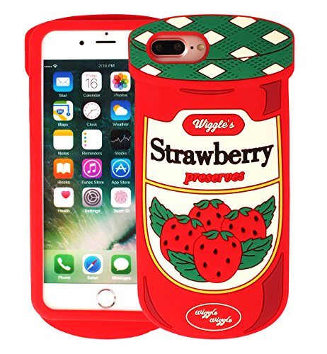 iPhone 7 Plus Silicone Case, iPhone 8 Plus Silicone Case, Soft 3D Cartoon Funny Flexible Protective Cover with Red Strawberry Can Pattern Gift Design for Teen - Strawberry Cell Phone Case