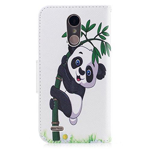 """Para LG K10 2017 funda, (""""kiss my ass�? caja del teléfono de la PU patrón en pintado ,Función de Soporte Billetera con Tapa para Tarjetas soporte para teléfono Panda jugando bambú"""