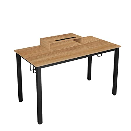 DlandHome Gaming Computer Desk, 47 Inches Gaming Table Workstation with Display Stand DND-ND14-TB Teak Black Legs, 1 Pack