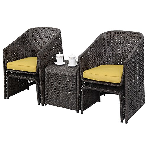 5 Piece Rattan Furniture Set With Footstools Suit Garden Conservatory New (Cushions Furniture Conservatory Rattan)