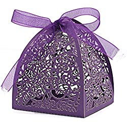 "KEIVA Pack of 70 Laser Cut Rose Candy Boxes, Favor Boxes 2.5""x 2.5""x 3.1"", Gift Boxes Bridal Shower Anniverary Birthday Party Wedding Favor (Purple)"