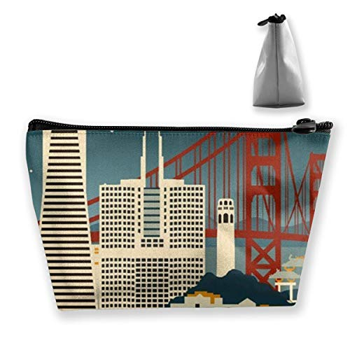 San Francisco California Retro Skyline Storage Bag Holder Portable Gift for Girls Women Large Capacity Cosmetic Train Case for Makeup Brushes Jewelry Casual Tote Bag (Best Weekend Getaways From Sf)