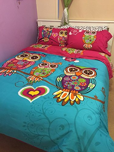 3/4pcs Twin Single Kids owl Bedding Queen King Size Adult owl Duvet Cover Sets Girls bedsheet Set 220240cm housse de couette