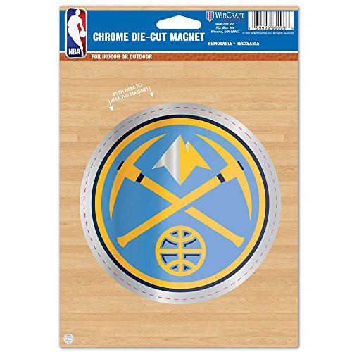 NBA Denver Nuggets Die Cut Logo Chrome Magnet, 6.25 x 9-Inch by WinCraft