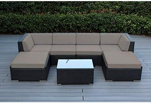 Ohana 7-Piece Outdoor Patio Furniture Sectional Conversation Set, Black Wicker with Sunbrella Taupe Cushions – No Assembly with Free Patio Cover