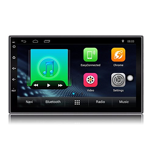 Lexxson Car Stereo GPS Navigation Double 2 Din 7 inch Quad Core 1.2GHz Android FM/AM Car Radio Stereo Capacitive Touch Screen Bluetooth USB SD Mirro Link Player 1G DDR3 + 16G Flash Memory LCT0018
