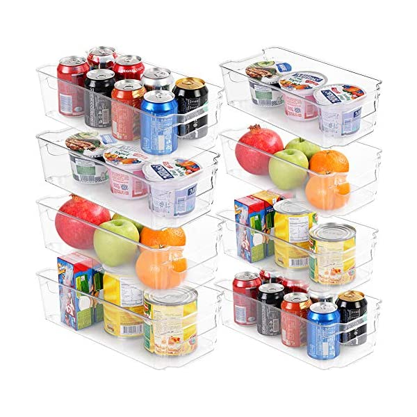 Set of 8 Refrigerator Pantry Organizers – Includes 8 Organizers (4 Large & 4 Small Drawers) – Stackable Organizers for Freezers, Kitchen Countertops and Cabinets – Clear Plastic Pantry Storage Racks