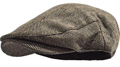 Men's Herringbone Wool Tweed Newsboy Ivy Cabbie Driving Hat (Brown - Herringbone Tweed Hat