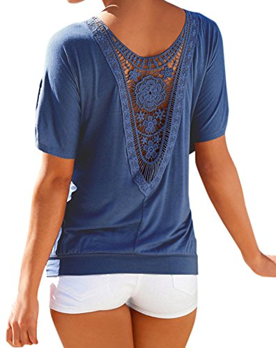 Ayliss Women's Batwing Sleeve Crochet Lace Back Blouse Tunic Top,Petrol Blue L