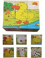 لعبة تعليمية للأطفال الصغار  احجية من 6 قطع في 1 - حيوانات المزرعة