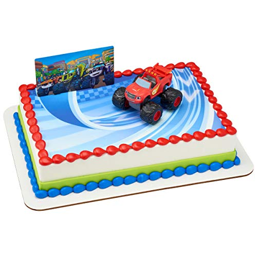 BLAZE AND THE MONSTER MACHINES Trucks Cake Topper Set Cupcake 24 Pieces plus Birthday Card