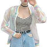 RARITY-US Laser Hologram Rainbow Bomber Jacket Iridescent Transparent Summer Sun-Proof Coat for Women Girls