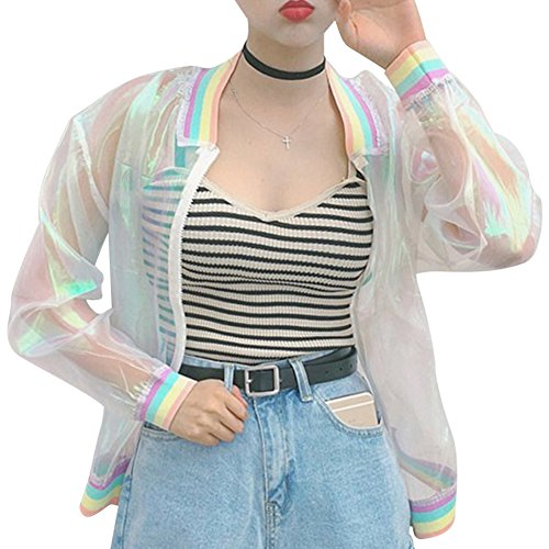 RARITY-US Women Girls Laser Hologram Rainbow Bomber Jacket Iridescent Transparent Summer Sun-Proof Coat