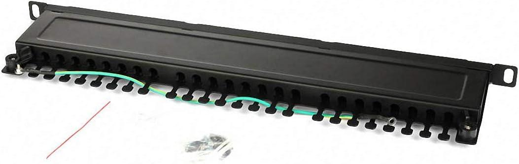 "Half-U Standard 19/"" Rack with Metal Frame. ETS 24 Port Shielded Connectors Network Patch Panel"