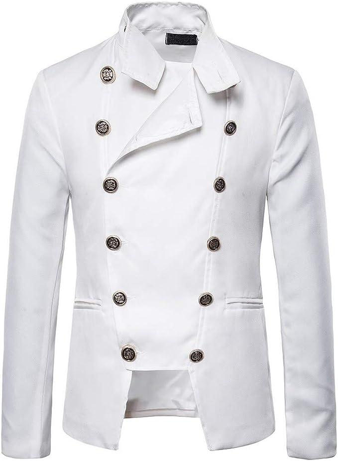 Men/'s Stand Collar Jacket Gothic Coat Steampunk Outwear Top Parka Slim Jackets