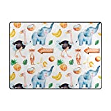 Vantaso Soft Foam Area Rugs Africa Animals Blue Elephant Ostrich Non Slip Play Mats for Kids Boys Girls Playing Room Living Room 63x48 inch