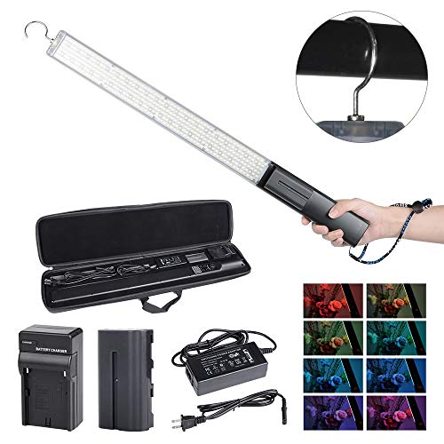 Hakutatz Photography RGB LED Full Color Stick Video Light Wand 5600K Ice Light Photo Lighting Kit for Camera Photo Studio Shooting,YouTube, Professional LED Continuous Light with Battery and Charger