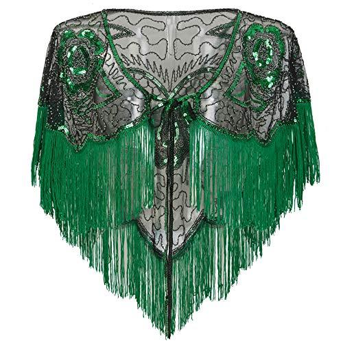 (BABEYOND 1920s Shawl Wraps Gatsby Beaded Evening Cape Bridal Shawl for Evening Dresses Wedding Party (Dark Green))