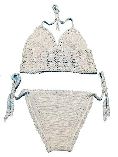 Noon-Sunshine Crochet Bikini Crop Top Swimwear Women Bikinis Knitted Swimsuit Beach Wear,White,M ()