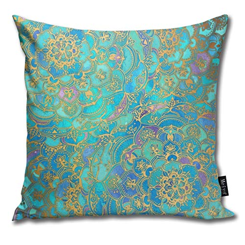 Sapphire Jade Stained Glass Mandalas Funny Square Throw Pillow Cases Cushion Cover for Bedroom Living Room Decorative 18