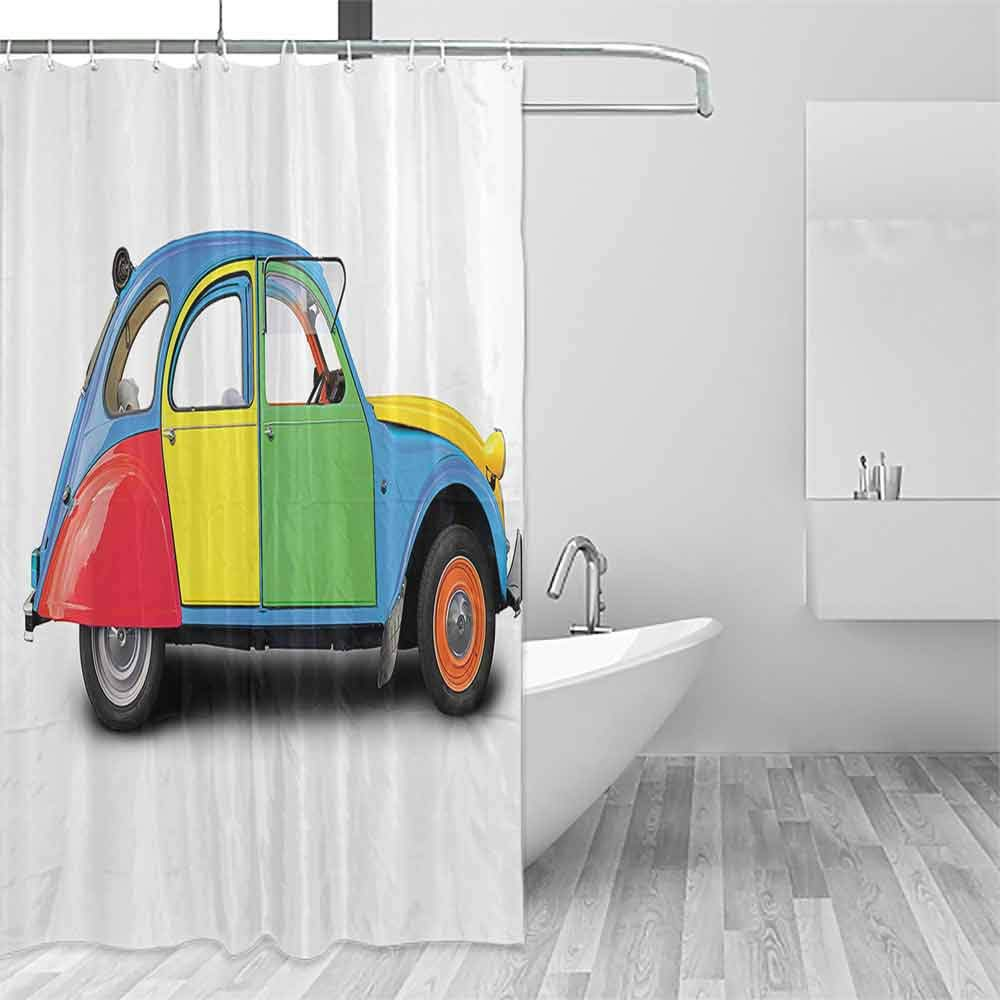 Homrkey Flower Shower Curtain 1960s Decorations Collection Retro Car Mini Small Fun Europe Chromium Old Fashion Good Old Days Picture Easy to Care W49 xL87 Yellow Blue by Homrkey