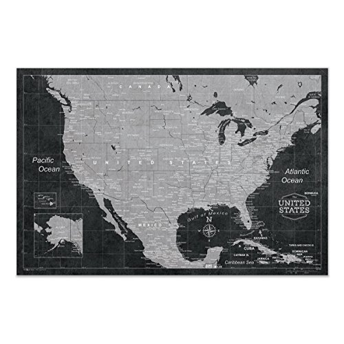 Map of USA Poster by Conquest Maps - Modern USA Map style decor to Track Travels & Pin Adventures! Matte paper - rustic modern grunge map - City/State Labels - (Accurate Map)