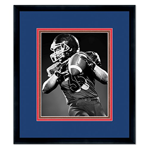 New York Giants Black Wood Frame for a 5x7 Photo with a Triple Mat - Dark Blue, Red, and Football Textured Mats