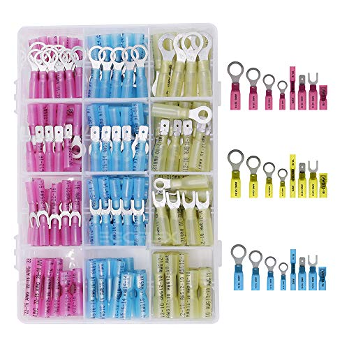 120pcs Heat Shrink Wire Connectors Crimp Butt Terminals Splice Spade and Ring Assorted DIY Kit - 24 Sizes 8 Styles 3 Colors with Case