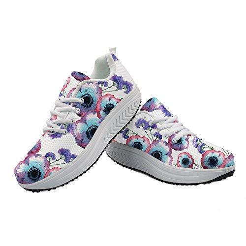 Women's Sneaker Floral Platform DESIGNS U Fitness Print Floral Wedges FOR Walking Vintage Casual Shoes Puzzle Rose SqUTHv