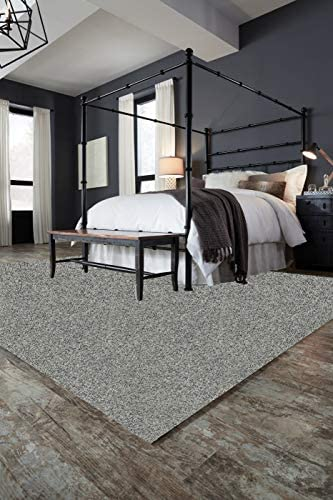 "10'x12'Pewter Area Rug Carpet. 25 oz. Face Weight. 1/2"" Thick. Polyester. Loose and Soft Frieze."